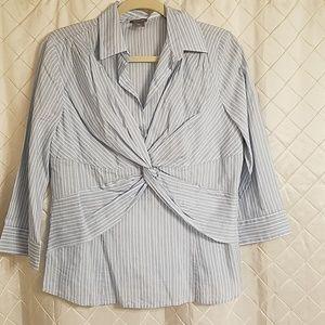 Ann Taylor silk cotton blend 3/4 striped blouse 14
